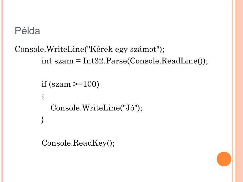 Példa Console.WriteLine(