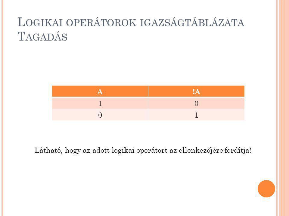 L OGIKAI OPERÁTOROK IGAZSÁGTÁBLÁZATA T AGADÁS A!A 10 01 Látható, hogy az adott logikai operátort az ellenkezőjére fordítja!