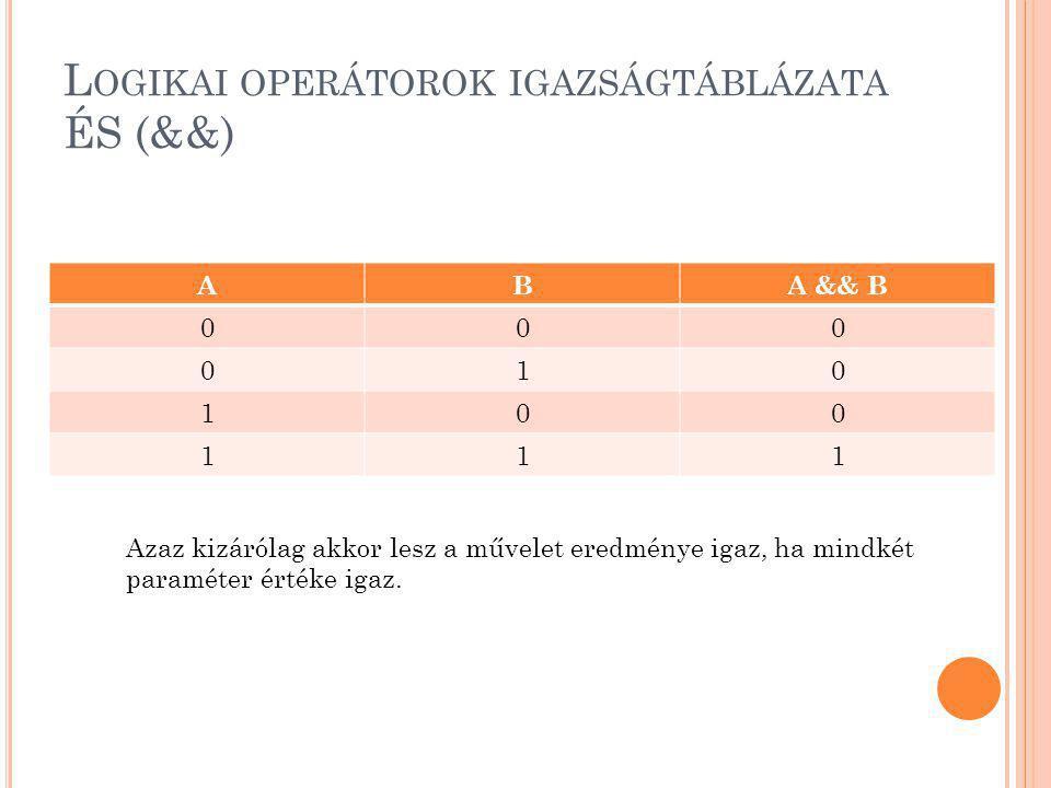 L OGIKAI OPERÁTOROK IGAZSÁGTÁBLÁZATA ÉS (&&) ABA && B 000 010 100 111 Azaz kizárólag akkor lesz a művelet eredménye igaz, ha mindkét paraméter értéke