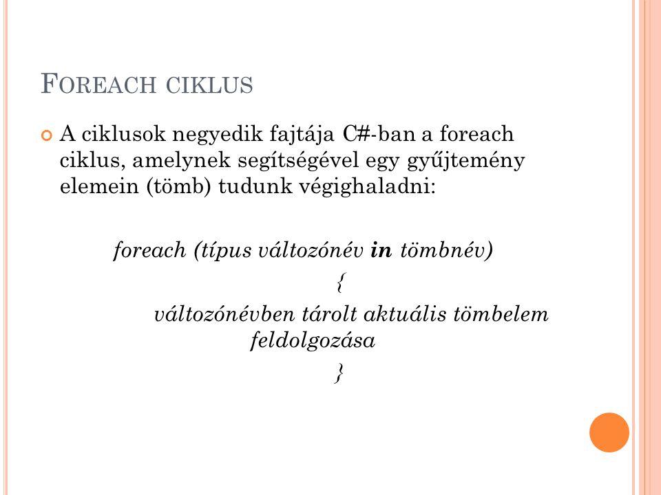 F OREACH CIKLUS A ciklusok negyedik fajtája C#-ban a foreach ciklus, amelynek segítségével egy gyűjtemény elemein (tömb) tudunk végighaladni: foreach