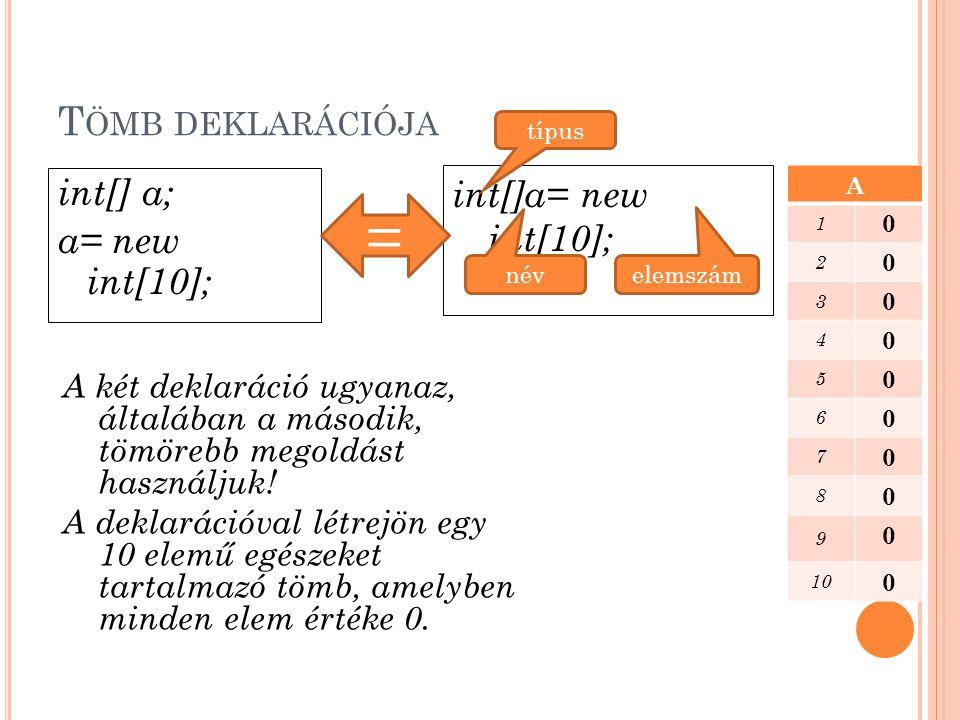 T ÖMB DEKLARÁCIÓJA A tömb első elemének indexe 0, a másodiké 1 stb… A tömb utolsó elemének indexe egyel kevesebb, mint az elemszáma A tömb egyes elemeit a tömb neve mellett elhelyezkedő szögletes zárójelbe tett index segítségével érhetjük el.