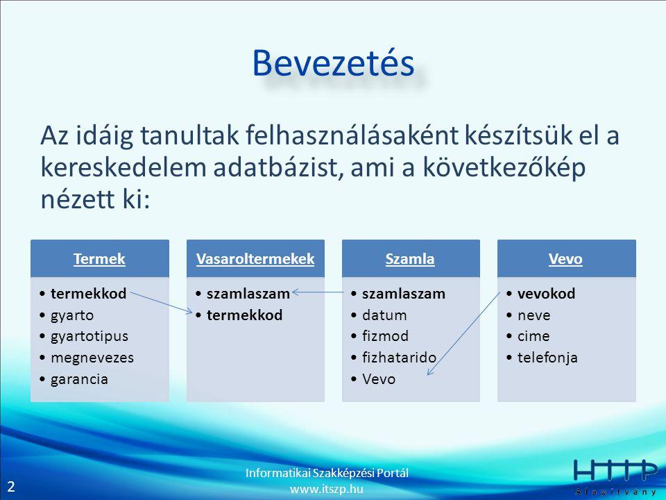 2 Informatikai Szakképzési Portál www.itszp.hu Bevezetés Az idáig tanultak felhasználásaként készítsük el a kereskedelem adatbázist, ami a következőké