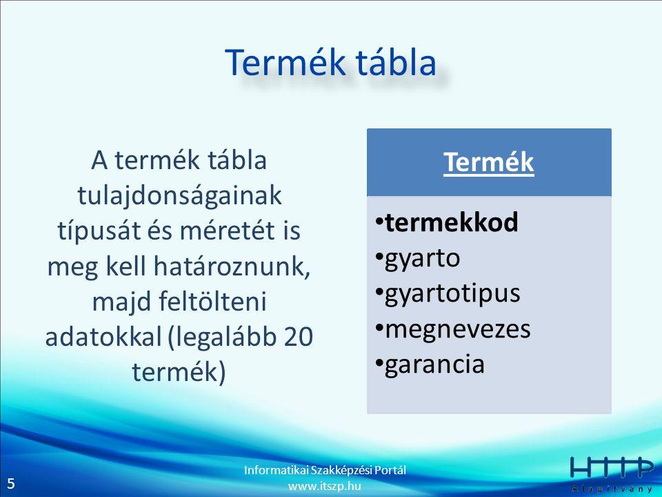 5 Informatikai Szakképzési Portál www.itszp.hu Termék tábla A termék tábla tulajdonságainak típusát és méretét is meg kell határoznunk, majd feltölten