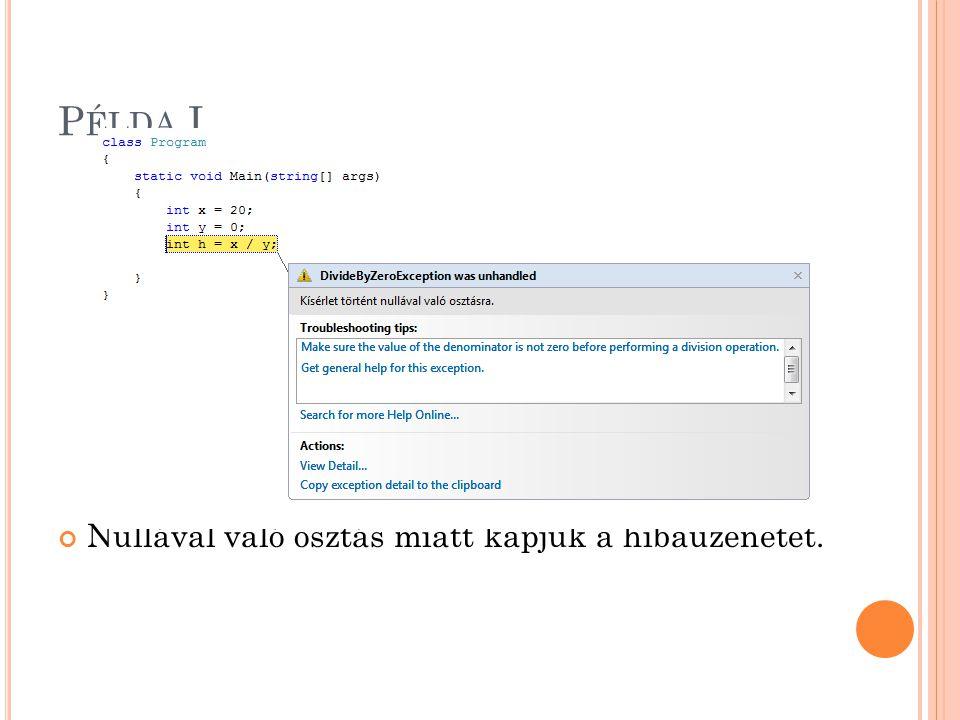 P ÉLDA I. Nullával való osztás miatt kapjuk a hibaüzenetet.