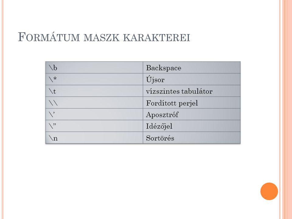F ORMÁTUM MASZK KARAKTEREI