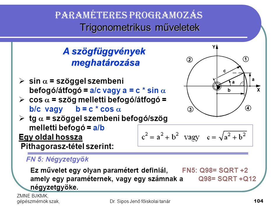 ZMNE BJKMK, gépészmérnök szak,Dr. Sipos Jenő főiskolai tanár104 Trigonometrikus műveletek Paraméteres programozás Trigonometrikus műveletek A szögfügg