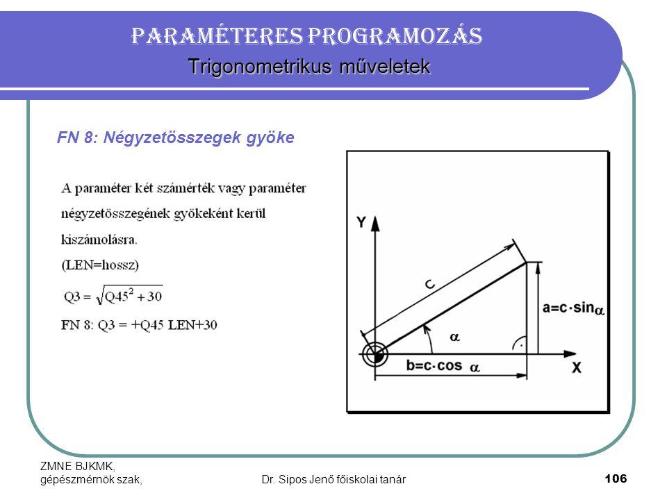 ZMNE BJKMK, gépészmérnök szak,Dr. Sipos Jenő főiskolai tanár106 Trigonometrikus műveletek Paraméteres programozás Trigonometrikus műveletek FN 8: Négy