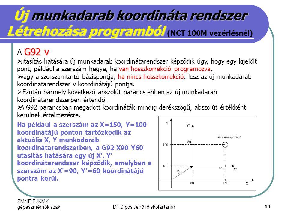 ZMNE BJKMK, gépészmérnök szak,Dr. Sipos Jenő főiskolai tanár11 Új munkadarab koordináta rendszer Létrehozása programból Létrehozása programból (NCT 10