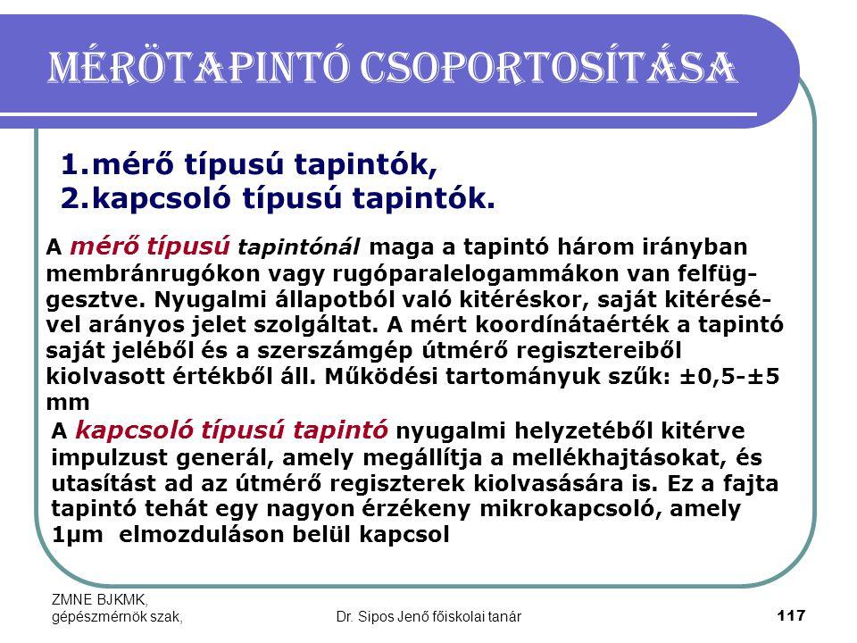 ZMNE BJKMK, gépészmérnök szak,Dr. Sipos Jenő főiskolai tanár117 Mérötapintó csoportosítása 1.mérő típusú tapintók, 2.kapcsoló típusú tapintók. A mérő