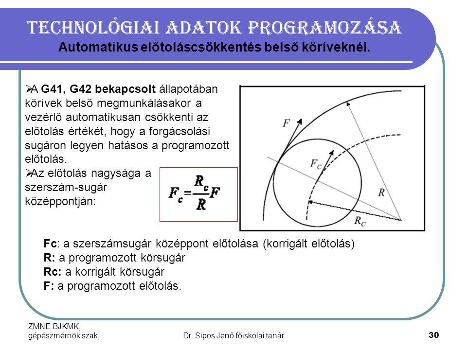 ZMNE BJKMK, gépészmérnök szak,Dr. Sipos Jenő főiskolai tanár30 Technológiai adatok programozása Automatikus előtoláscsökkentés belső köríveknél.  A G
