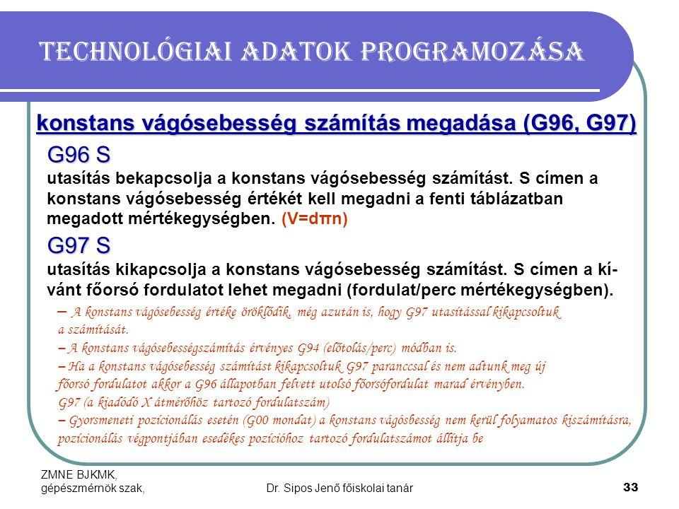 ZMNE BJKMK, gépészmérnök szak,Dr. Sipos Jenő főiskolai tanár33 Technológiai adatok programozása konstans vágósebesség számítás megadása (G96, G97) G96