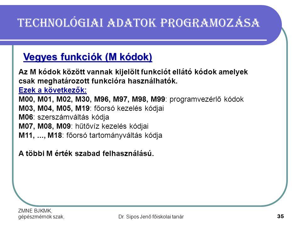 ZMNE BJKMK, gépészmérnök szak,Dr. Sipos Jenő főiskolai tanár35 Technológiai adatok programozása Az M kódok között vannak kijelölt funkciót ellátó kódo
