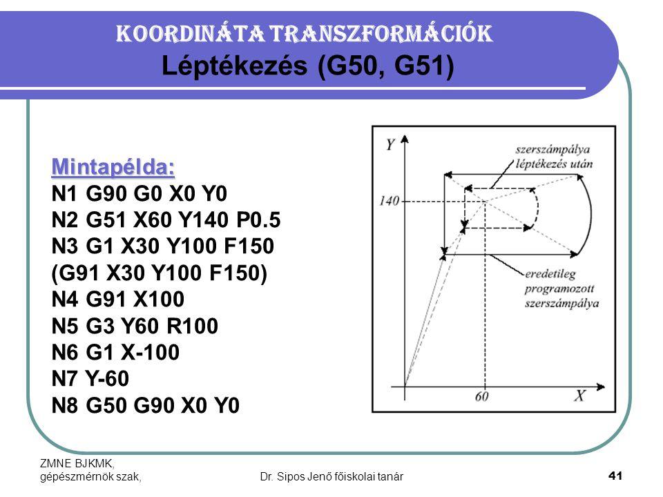 ZMNE BJKMK, gépészmérnök szak,Dr. Sipos Jenő főiskolai tanár41 Koordináta transzformációk Léptékezés (G50, G51) Mintapélda: N1 G90 G0 X0 Y0 N2 G51 X60