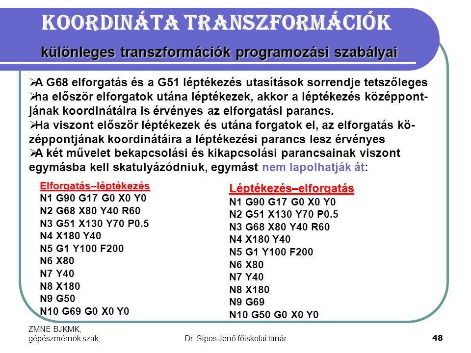 ZMNE BJKMK, gépészmérnök szak,Dr. Sipos Jenő főiskolai tanár48 különleges transzformációk programozási szabályai Koordináta transzformációk különleges