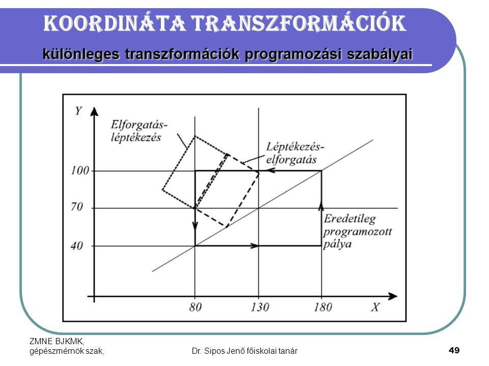 ZMNE BJKMK, gépészmérnök szak,Dr. Sipos Jenő főiskolai tanár49 különleges transzformációk programozási szabályai Koordináta transzformációk különleges