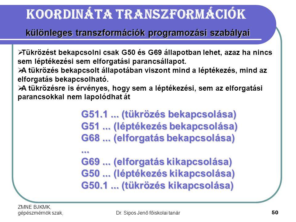 ZMNE BJKMK, gépészmérnök szak,Dr. Sipos Jenő főiskolai tanár50 különleges transzformációk programozási szabályai Koordináta transzformációk különleges