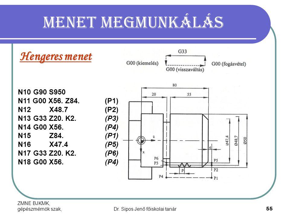ZMNE BJKMK, gépészmérnök szak,Dr. Sipos Jenő főiskolai tanár55 Menet megmunkálás Hengeres menet N10 G90 S950 N11 G00 X56. Z84.(P1) N12 X48.7(P2) N13 G
