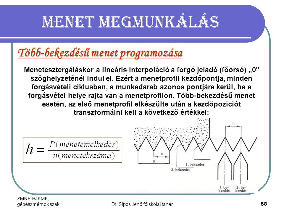 ZMNE BJKMK, gépészmérnök szak,Dr. Sipos Jenő főiskolai tanár58 Menet megmunkálás Több-bekezdésű menet programozása Menetesztergáláskor a lineáris inte