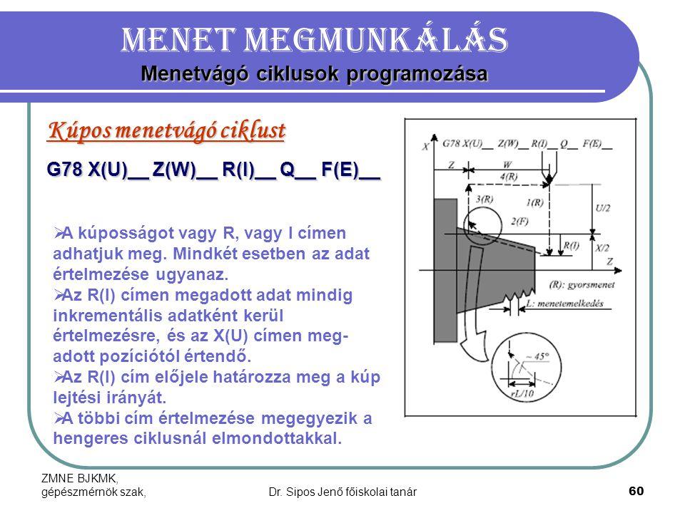 ZMNE BJKMK, gépészmérnök szak,Dr. Sipos Jenő főiskolai tanár60 Menetvágó ciklusok programozása Menet megmunkálás Menetvágó ciklusok programozása Kúpos