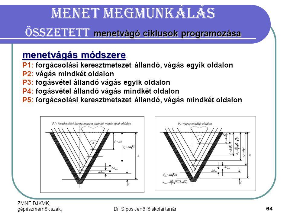 ZMNE BJKMK, gépészmérnök szak,Dr. Sipos Jenő főiskolai tanár64 menetvágó ciklusok programozása Menet megmunkálás Összetett menetvágó ciklusok programo