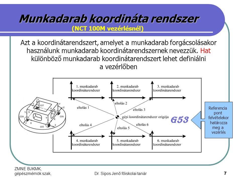 ZMNE BJKMK, gépészmérnök szak,Dr. Sipos Jenő főiskolai tanár7 Munkadarab koordináta rendszer (NCT 100M vezérlésnél) Azt a koordinátarendszert, amelyet