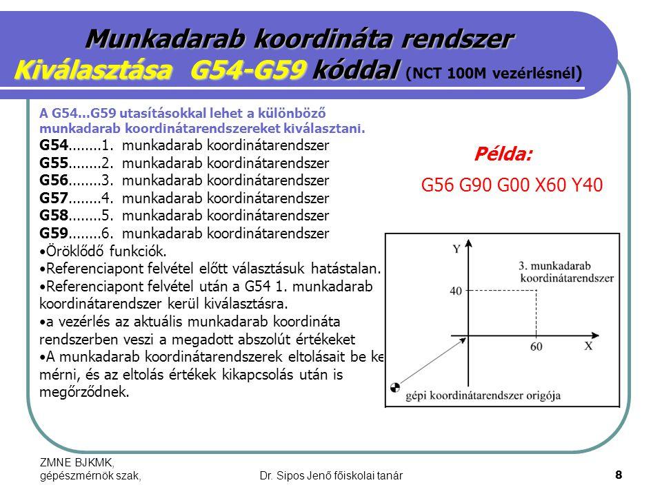 ZMNE BJKMK, gépészmérnök szak,Dr. Sipos Jenő főiskolai tanár8 Munkadarab koordináta rendszer Kiválasztása G54-G59 kóddal Kiválasztása G54-G59 kóddal (
