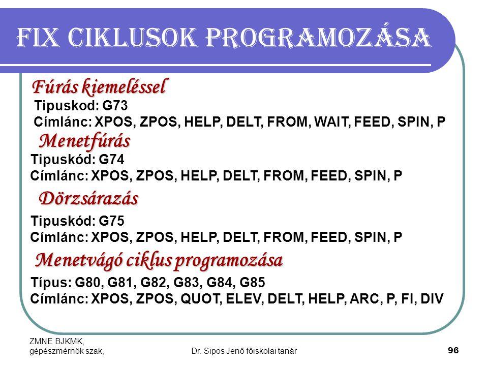 ZMNE BJKMK, gépészmérnök szak,Dr. Sipos Jenő főiskolai tanár96 Fix ciklusok programozása Fúrás kiemeléssel Tipuskod: G73 Címlánc: XPOS, ZPOS, HELP, DE