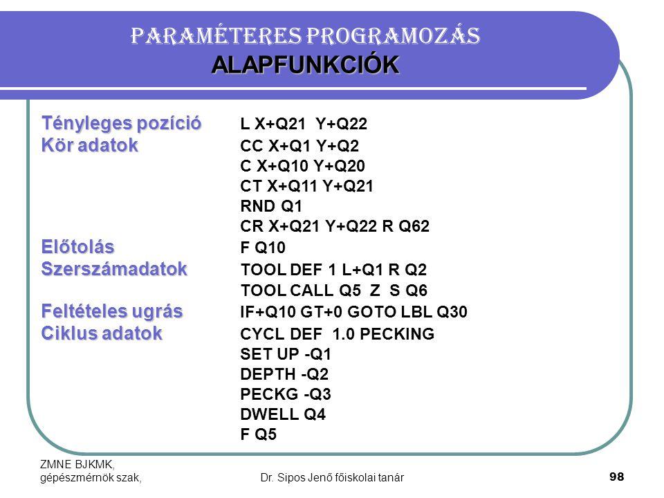 ZMNE BJKMK, gépészmérnök szak,Dr. Sipos Jenő főiskolai tanár98 ALAPFUNKCIÓK Paraméteres programozás ALAPFUNKCIÓK Tényleges pozíció Tényleges pozíció L