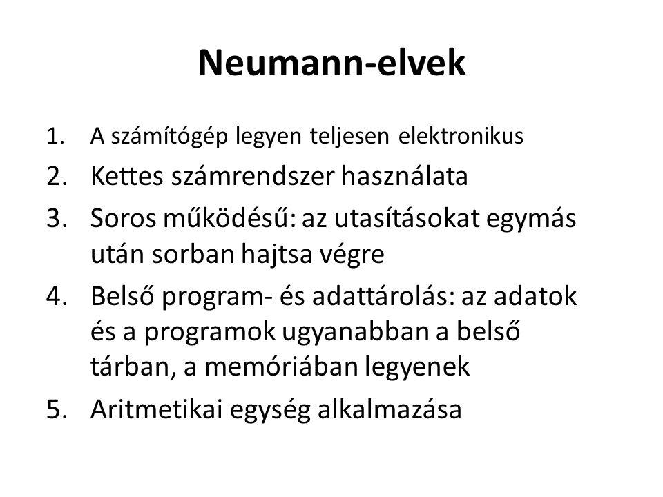 Neumann-elvek 1.A számítógép legyen teljesen elektronikus 2.Kettes számrendszer használata 3.Soros működésű: az utasításokat egymás után sorban hajtsa