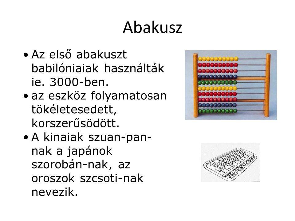 Az első abakuszt babilóniaiak használták ie. 3000-ben. az eszköz folyamatosan tökéletesedett, korszerűsödött. A kinaiak szuan-pan- nak a japánok szoro