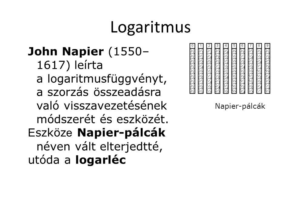 John Napier (1550– 1617) leírta a logaritmusfüggvényt, a szorzás összeadásra való visszavezetésének módszerét és eszközét. E szköz e Napier-pálcák né