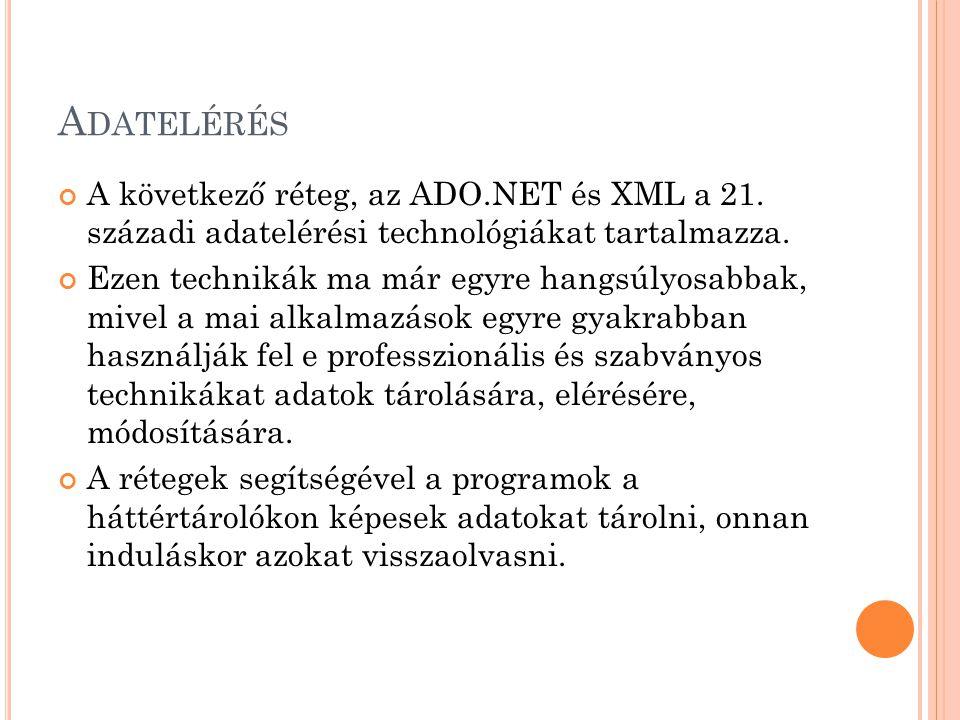 A DATELÉRÉS A következő réteg, az ADO.NET és XML a 21.