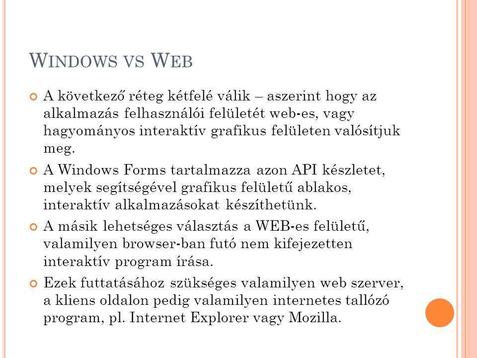 W INDOWS VS W EB A következő réteg kétfelé válik – aszerint hogy az alkalmazás felhasználói felületét web-es, vagy hagyományos interaktív grafikus felületen valósítjuk meg.