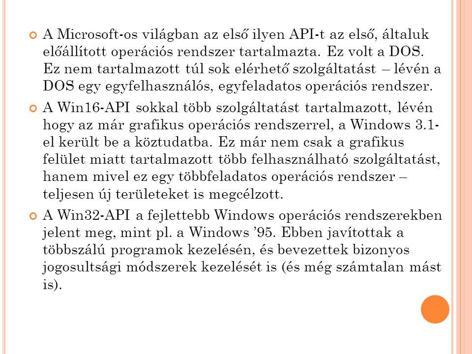 A Microsoft-os világban az első ilyen API-t az első, általuk előállított operációs rendszer tartalmazta.