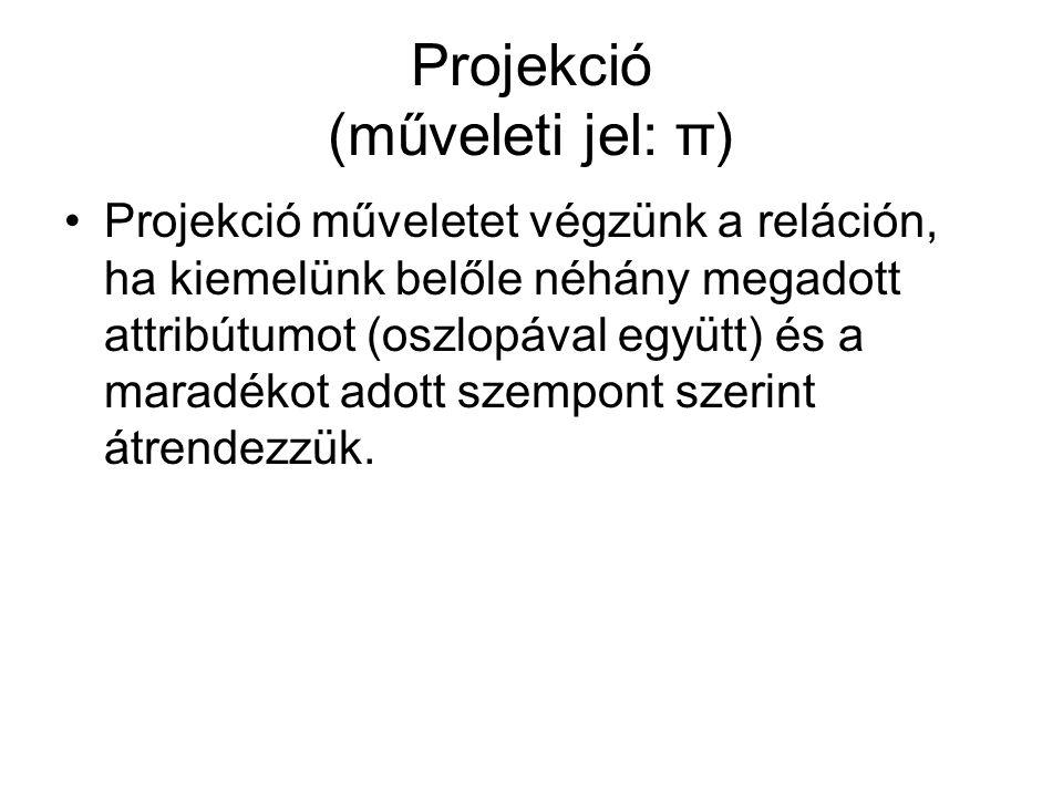 Projekció (műveleti jel: π) Projekció műveletet végzünk a reláción, ha kiemelünk belőle néhány megadott attribútumot (oszlopával együtt) és a maradékot adott szempont szerint átrendezzük.