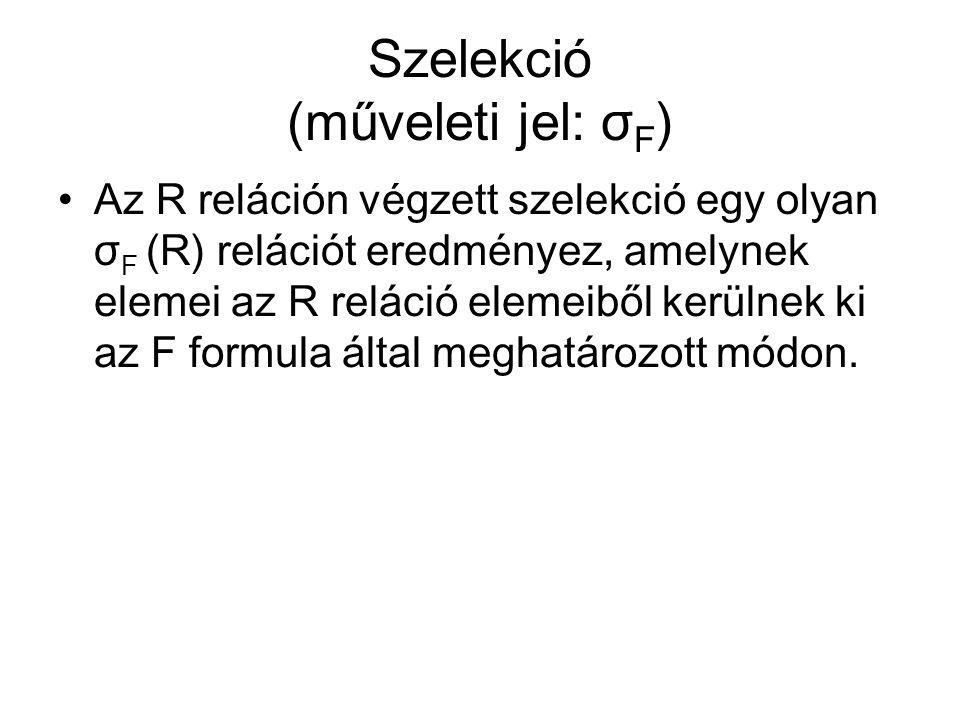 Szelekció (műveleti jel: σ F ) Az R reláción végzett szelekció egy olyan σ F (R) relációt eredményez, amelynek elemei az R reláció elemeiből kerülnek ki az F formula által meghatározott módon.