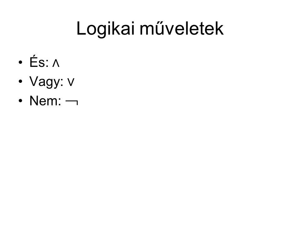 Logikai műveletek És: ∧ Vagy: ∨ Nem: ﹁