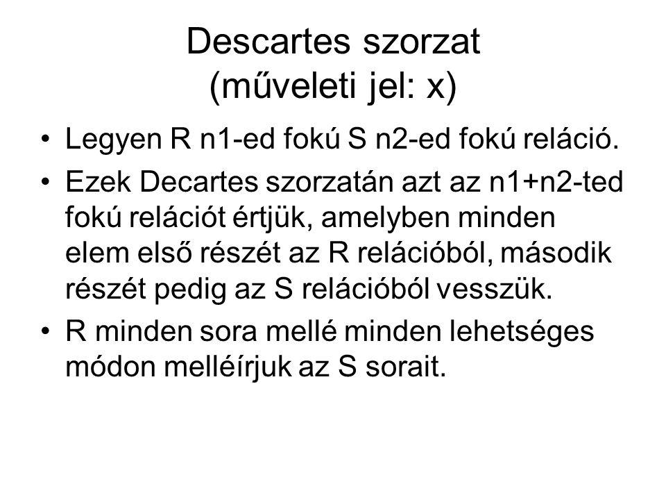 Descartes szorzat (műveleti jel: x) Legyen R n1-ed fokú S n2-ed fokú reláció.
