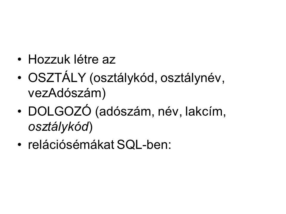 Hozzuk létre az OSZTÁLY (osztálykód, osztálynév, vezAdószám) DOLGOZÓ (adószám, név, lakcím, osztálykód) relációsémákat SQL-ben: