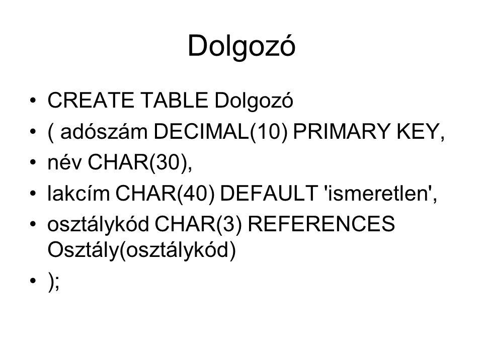 Dolgozó CREATE TABLE Dolgozó ( adószám DECIMAL(10) PRIMARY KEY, név CHAR(30), lakcím CHAR(40) DEFAULT ismeretlen , osztálykód CHAR(3) REFERENCES Osztály(osztálykód) );