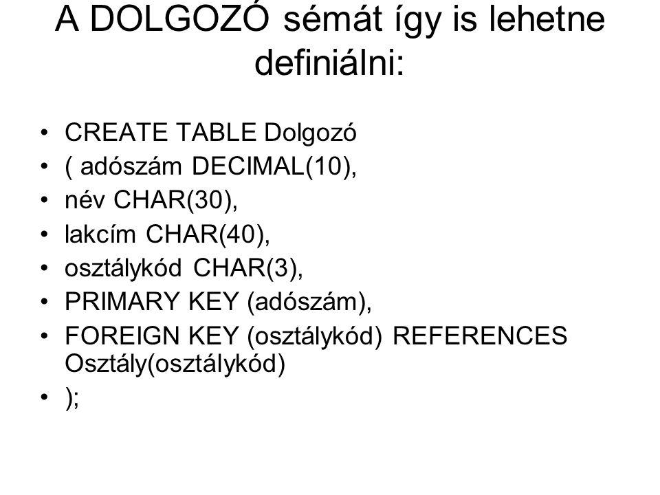 A DOLGOZÓ sémát így is lehetne definiálni: CREATE TABLE Dolgozó ( adószám DECIMAL(10), név CHAR(30), lakcím CHAR(40), osztálykód CHAR(3), PRIMARY KEY (adószám), FOREIGN KEY (osztálykód) REFERENCES Osztály(osztálykód) );