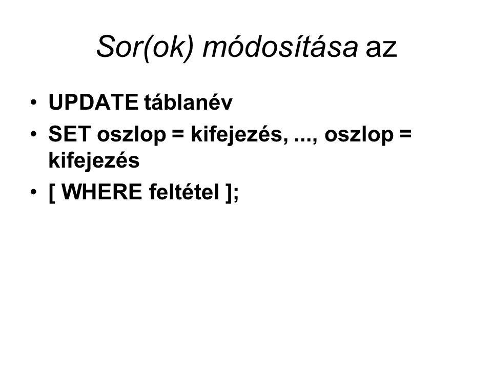 Sor(ok) módosítása az UPDATE táblanév SET oszlop = kifejezés,..., oszlop = kifejezés [ WHERE feltétel ];