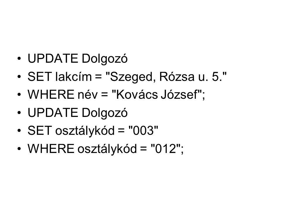 UPDATE Dolgozó SET lakcím = Szeged, Rózsa u.