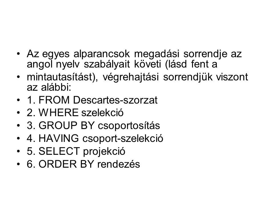 Az egyes alparancsok megadási sorrendje az angol nyelv szabályait követi (lásd fent a mintautasítást), végrehajtási sorrendjük viszont az alábbi: 1.