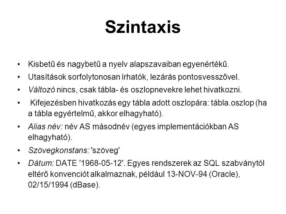 Szintaxis Kisbetű és nagybetű a nyelv alapszavaiban egyenértékű. Utasítások sorfolytonosan írhatók, lezárás pontosvesszővel. Változó nincs, csak tábla