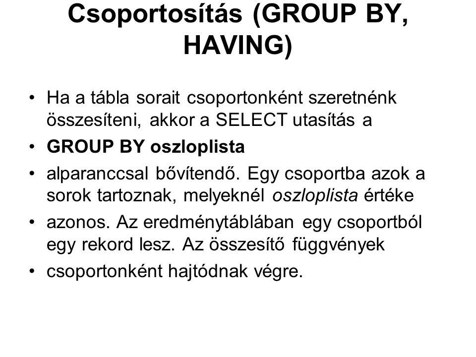 Csoportosítás (GROUP BY, HAVING) Ha a tábla sorait csoportonként szeretnénk összesíteni, akkor a SELECT utasítás a GROUP BY oszloplista alparanccsal bővítendő.