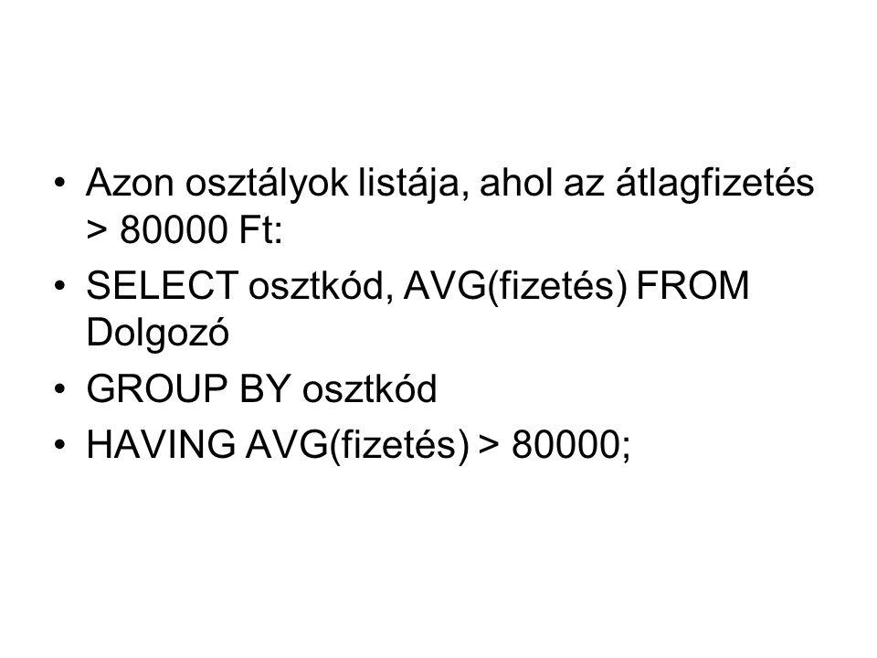 Azon osztályok listája, ahol az átlagfizetés > 80000 Ft: SELECT osztkód, AVG(fizetés) FROM Dolgozó GROUP BY osztkód HAVING AVG(fizetés) > 80000;