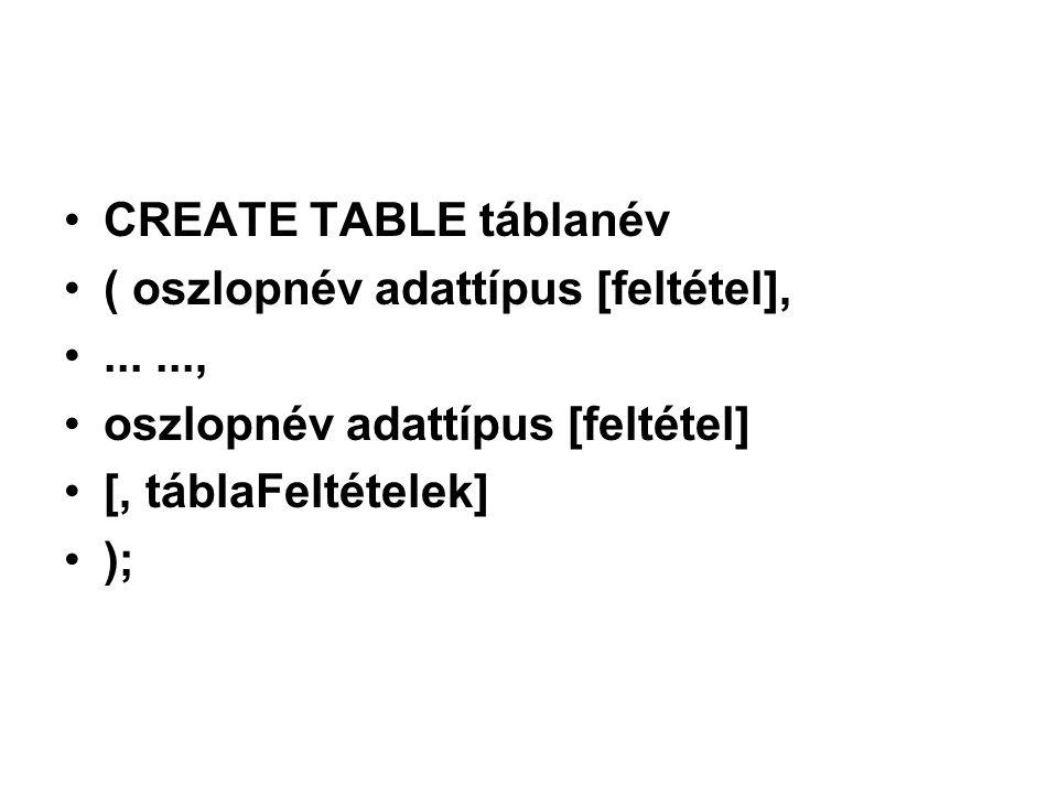 CREATE TABLE táblanév ( oszlopnév adattípus [feltétel],......, oszlopnév adattípus [feltétel] [, táblaFeltételek] );