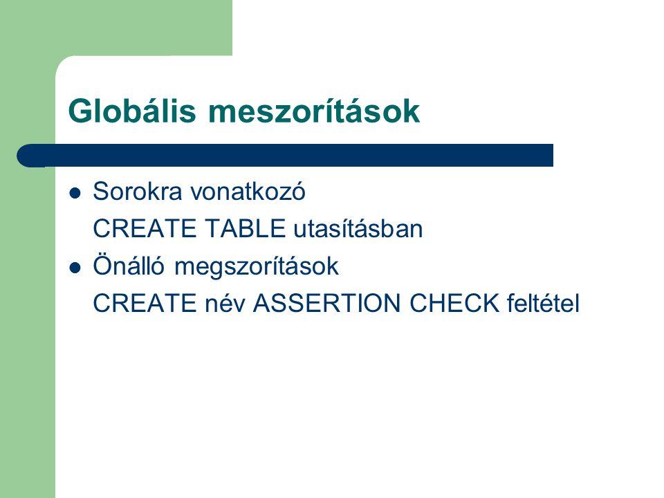 Globális meszorítások Sorokra vonatkozó CREATE TABLE utasításban Önálló megszorítások CREATE név ASSERTION CHECK feltétel