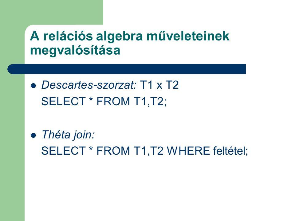 A relációs algebra műveleteinek megvalósítása Descartes-szorzat: T1 x T2 SELECT * FROM T1,T2; Théta join: SELECT * FROM T1,T2 WHERE feltétel;